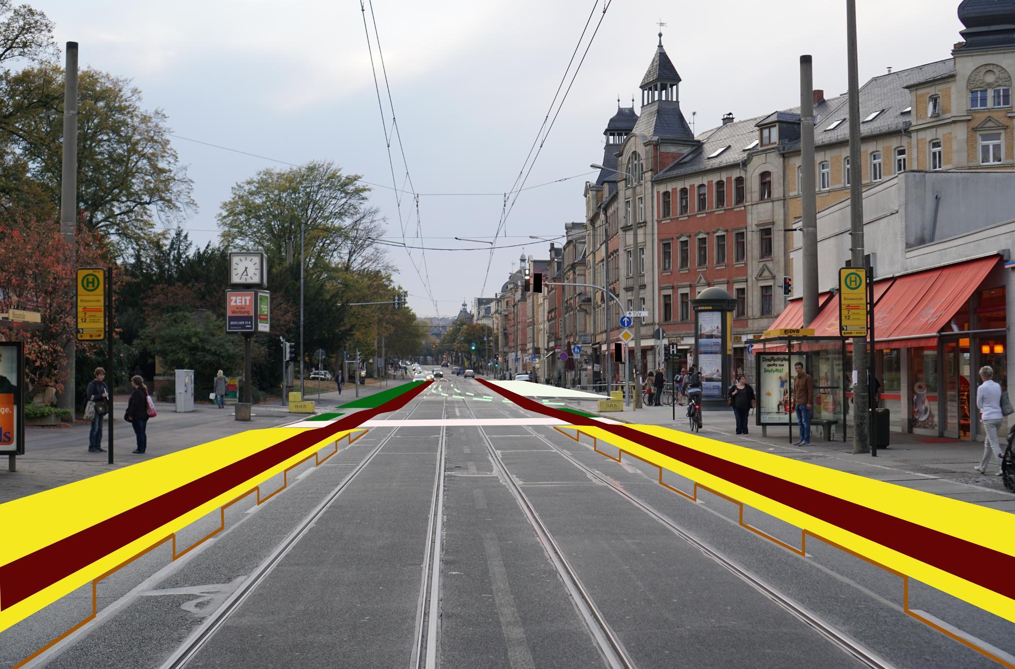 Web-Variante der Hauptillustration: auslaufende Haltestelle Bünaustraße auf der Kesselsdorfer Straße mit anschließendem Straßenabschnitt Wernerstraße -> Rudolf-Renner-Straße und weiter hoch.